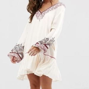 FREE PEOPLE Ivory Wild One Embroidered Mini Dress